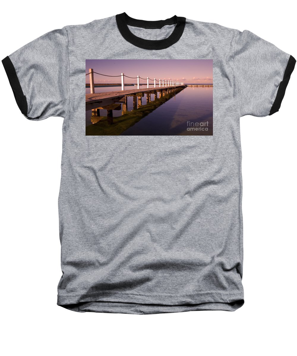 Narrabeen Sydney Sunrise Wharf Walkway Baseball T-Shirt featuring the photograph Narrabeen Sunrise by Avalon Fine Art Photography