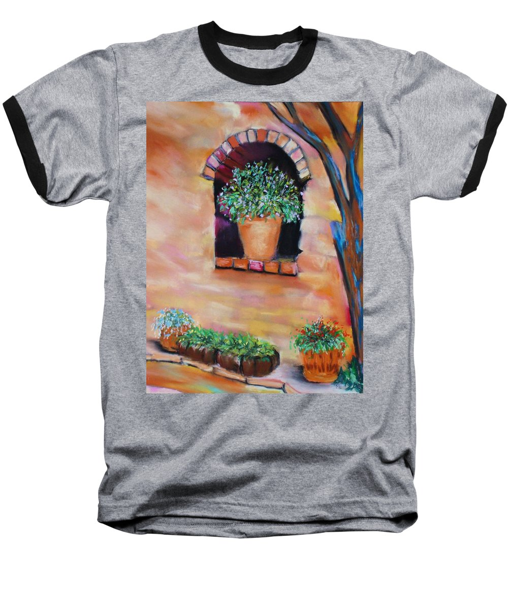 Courtyard Baseball T-Shirt featuring the painting Nash's Courtyard by Melinda Etzold