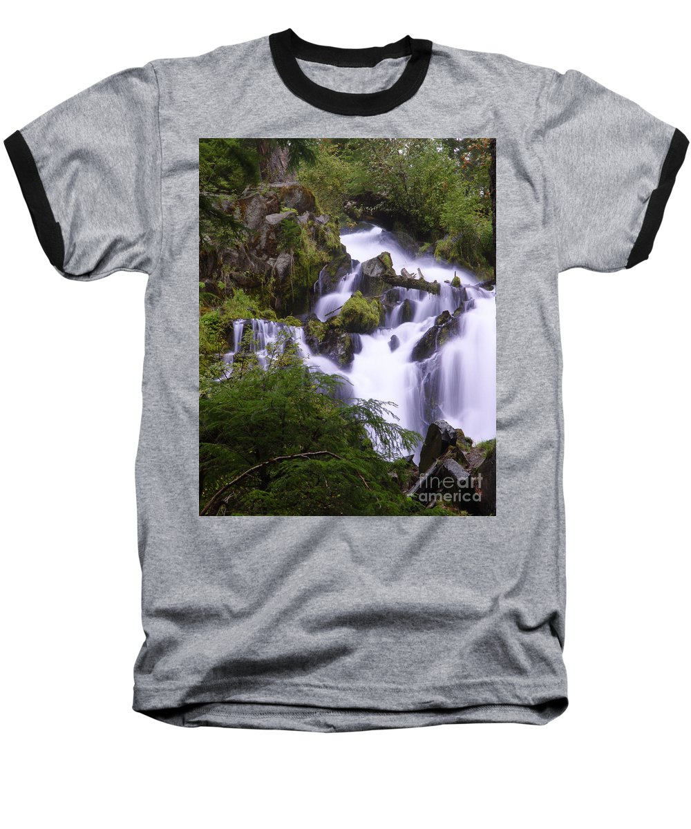 Waterfall Baseball T-Shirt featuring the photograph National Creek Falls 05 by Peter Piatt