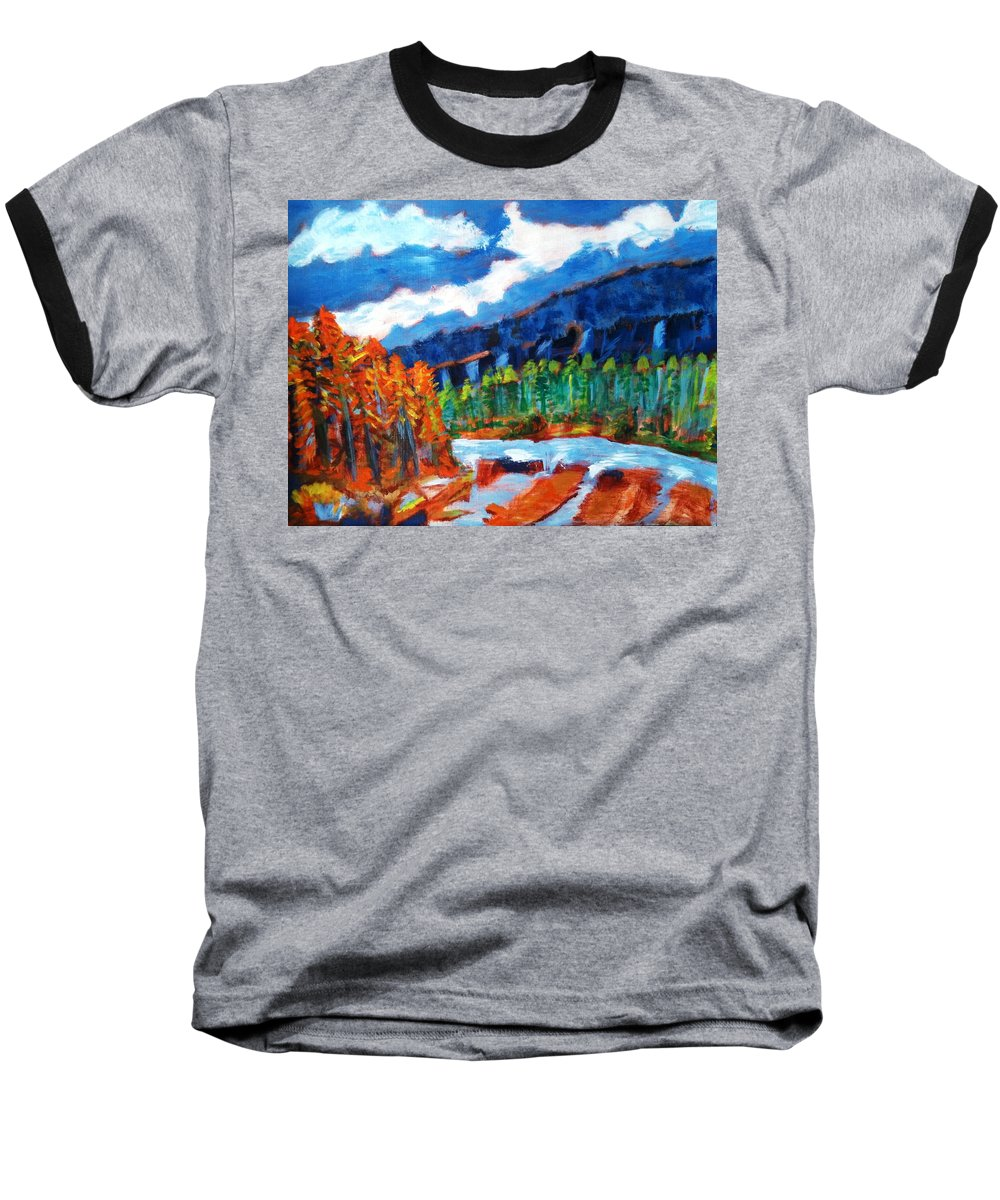 Mountains Baseball T-Shirt featuring the painting Naturals by R B