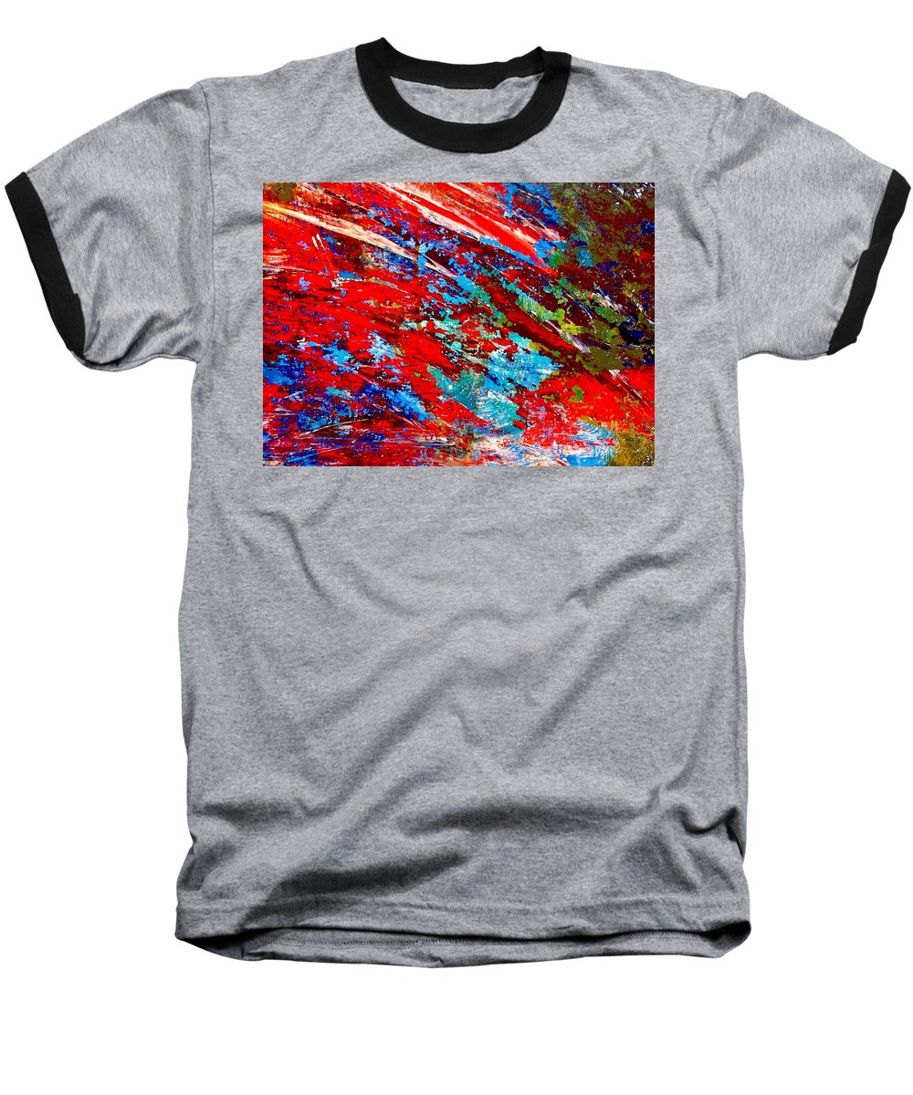 Abstract Baseball T-Shirt featuring the painting Nature Harmony by Natalie Holland
