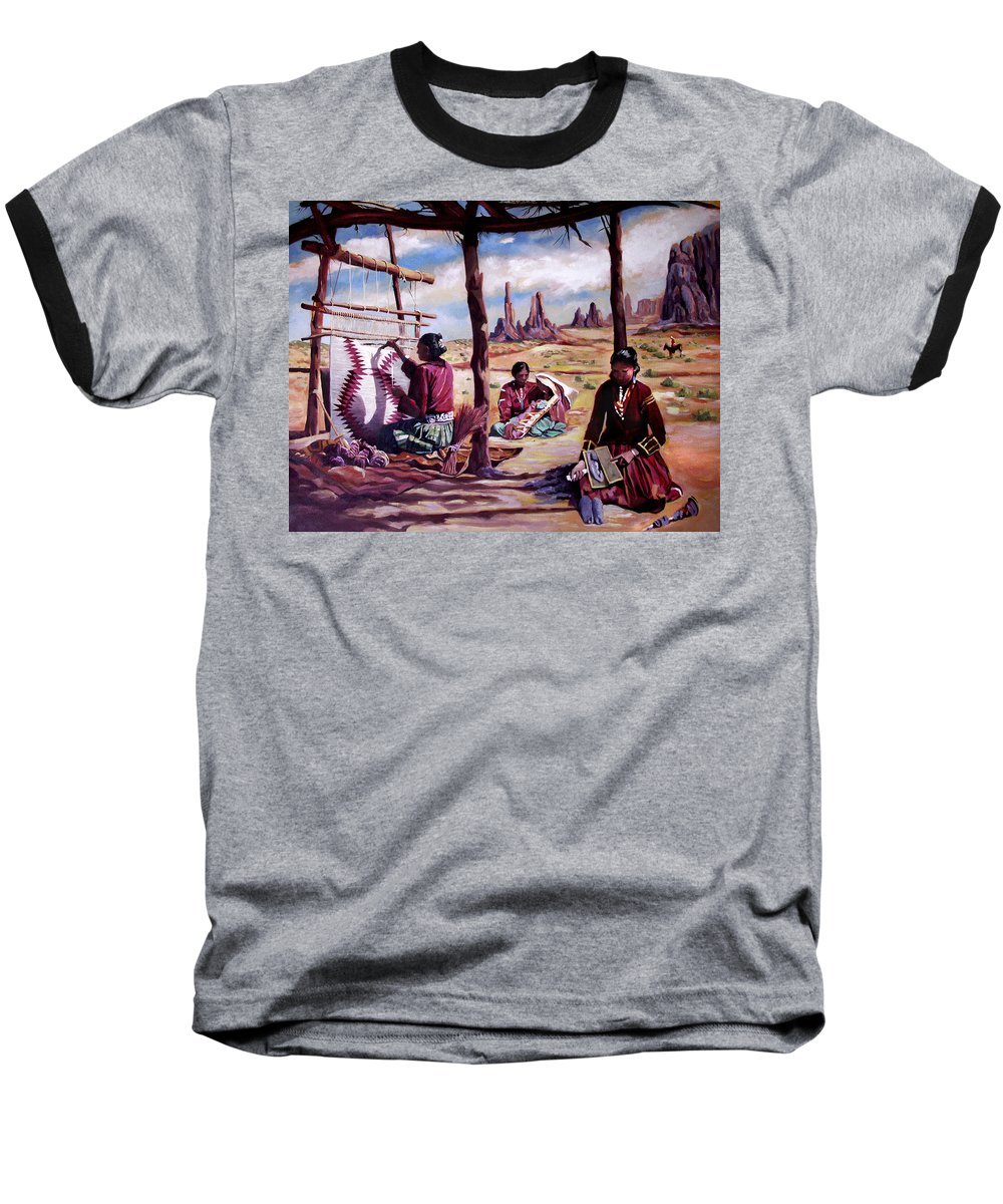 Native American Baseball T-Shirt featuring the painting Navajo Weavers by Nancy Griswold