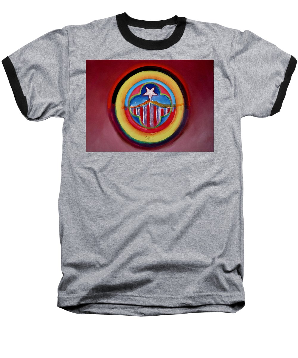 Button Baseball T-Shirt featuring the painting Navy by Charles Stuart