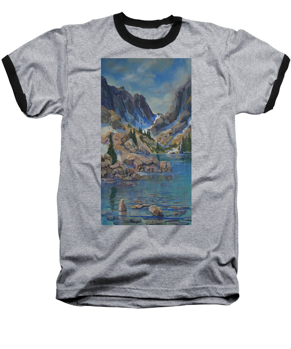 Hayden Spires Baseball T-Shirt featuring the painting Near Hayden Spires by Heather Coen