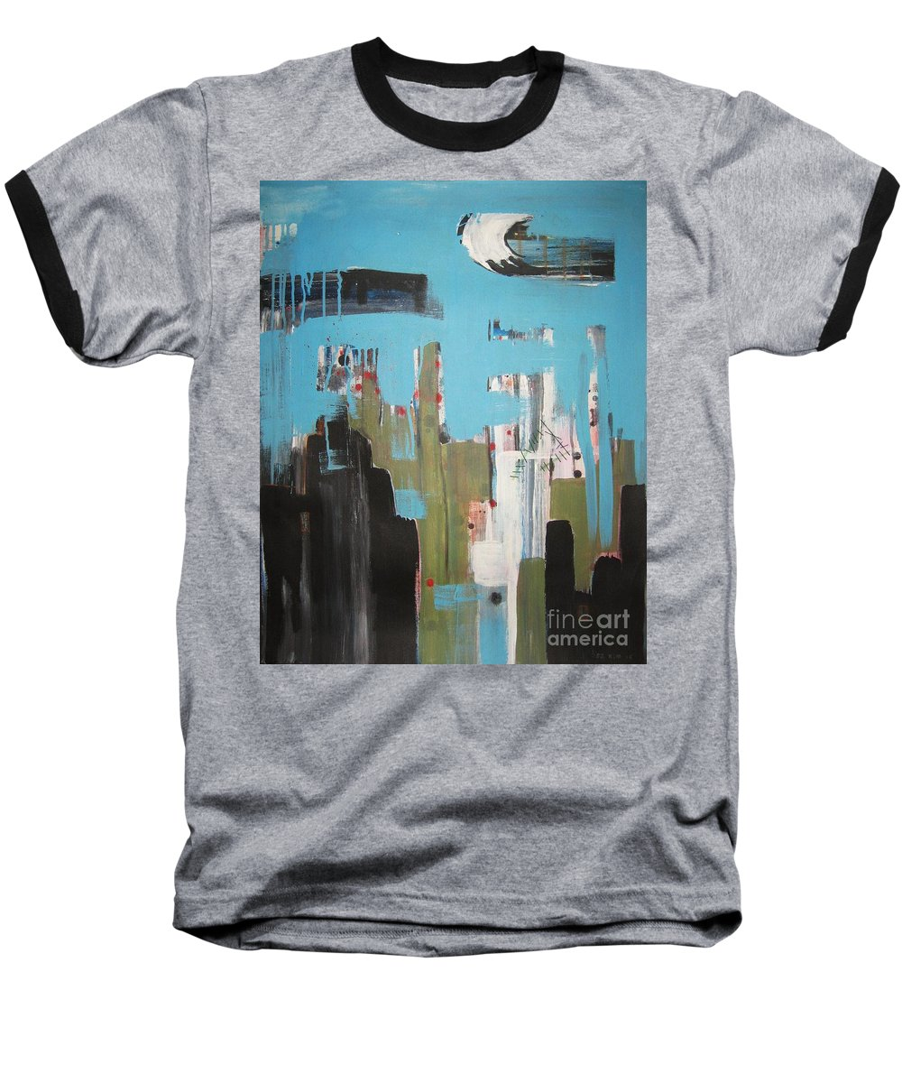 Abstract Paintings Baseball T-Shirt featuring the painting Neglected Area by Seon-Jeong Kim