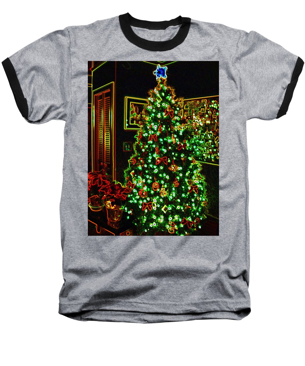 Christmas Baseball T-Shirt featuring the photograph Neon Christmas Tree by Nancy Mueller