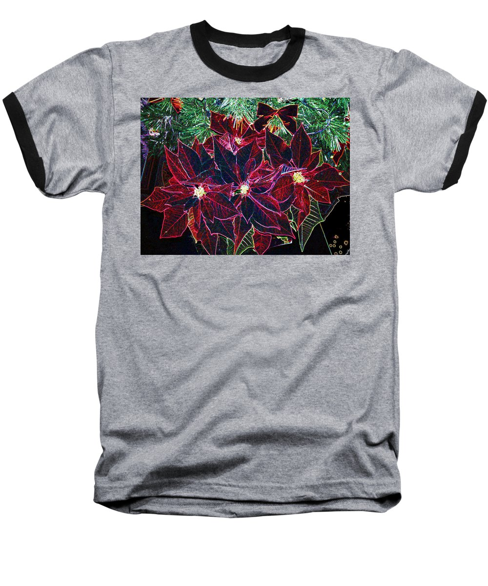 Flowers Baseball T-Shirt featuring the photograph Neon Poinsettias by Nancy Mueller