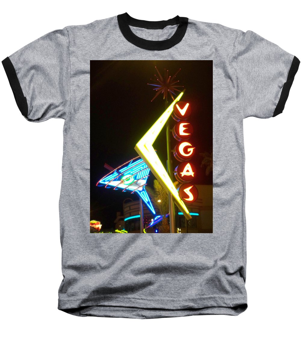 Fremont East Baseball T-Shirt featuring the photograph Neon Signs 3 by Anita Burgermeister