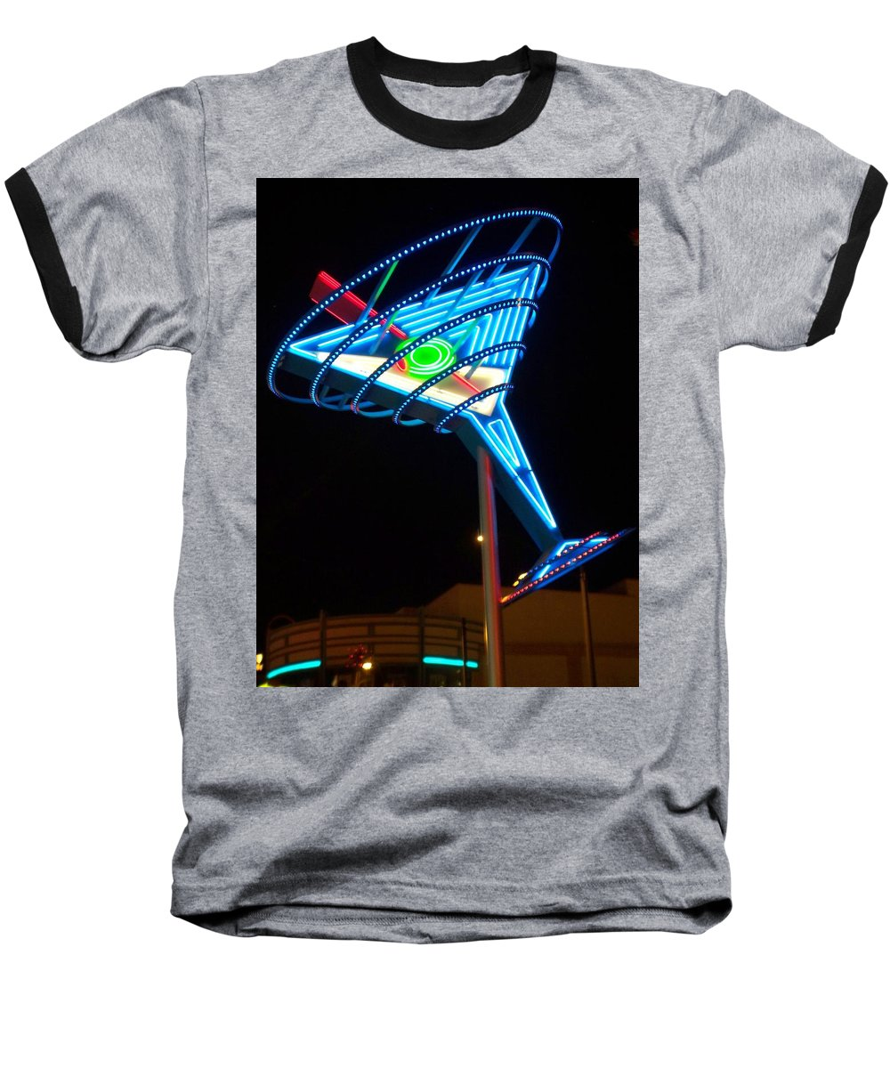 Fremont East Baseball T-Shirt featuring the photograph Neon Signs 4 by Anita Burgermeister