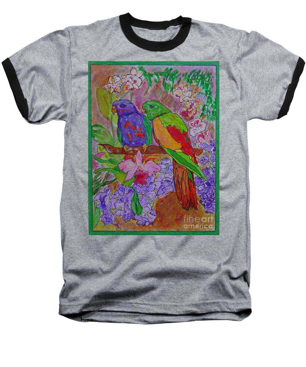 Tropical Pair Birds Parrots Original Illustration Leilaatkinson Baseball T-Shirt featuring the painting Nesting by Leila Atkinson