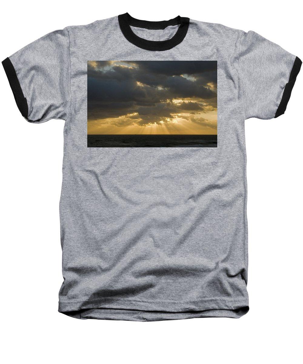 Ocean Sunset Sun Cloud Clouds Ray Rays Beam Beams Bright Wave Waves Water Sea Beach Golden Nature Baseball T-Shirt featuring the photograph New Beginning by Andrei Shliakhau