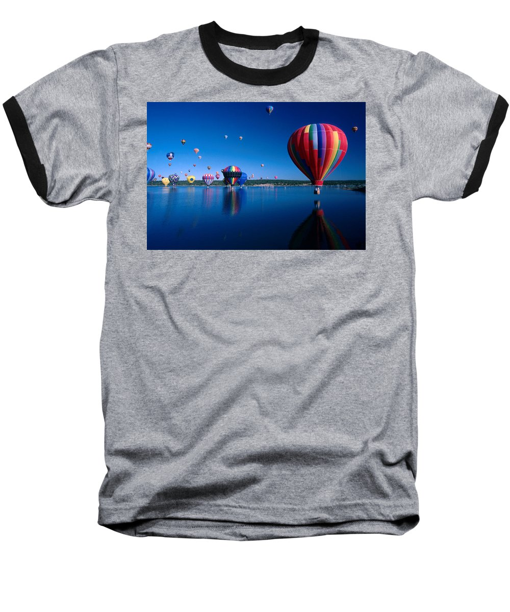 Hot Air Balloon Baseball T-Shirt featuring the photograph New Mexico Hot Air Balloons by Jerry McElroy