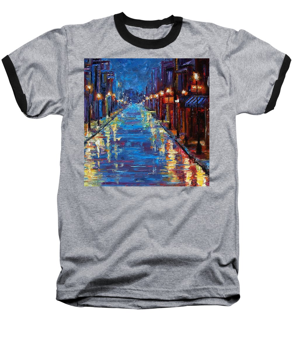 Cityscape Baseball T-Shirt featuring the painting New Orleans Bourbon Street by Debra Hurd