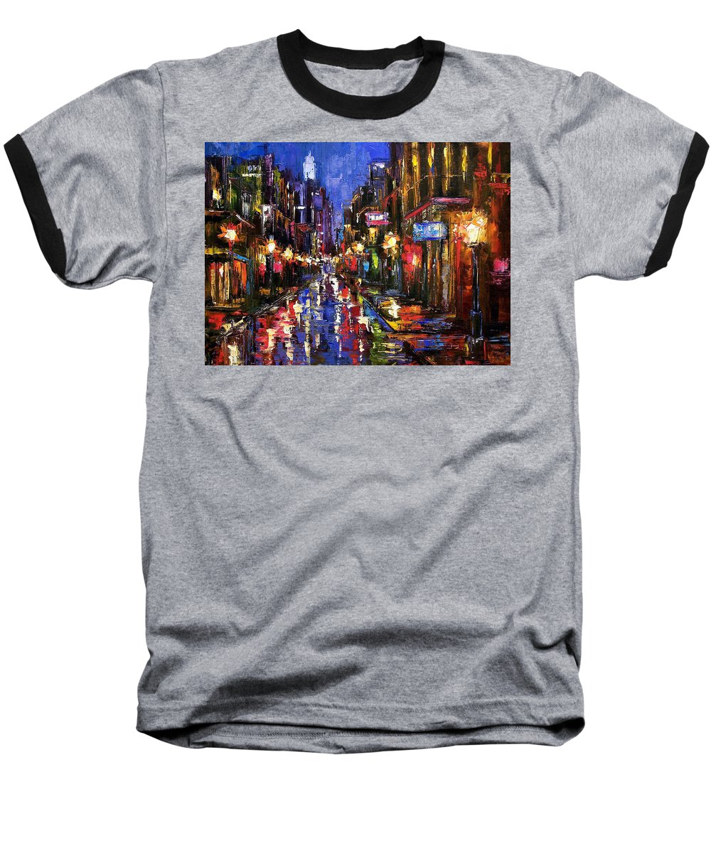 Cityscape Baseball T-Shirt featuring the painting New Orleans Storm by Debra Hurd