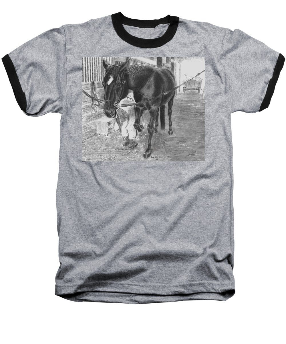 Horse Baseball T-Shirt featuring the drawing New Shoes by Quwatha Valentine