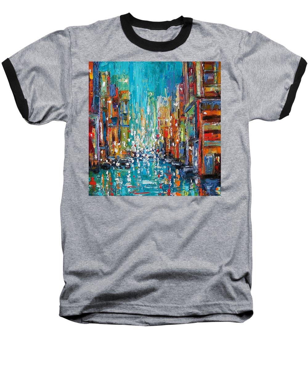 City Art Baseball T-Shirt featuring the painting New York City by Debra Hurd