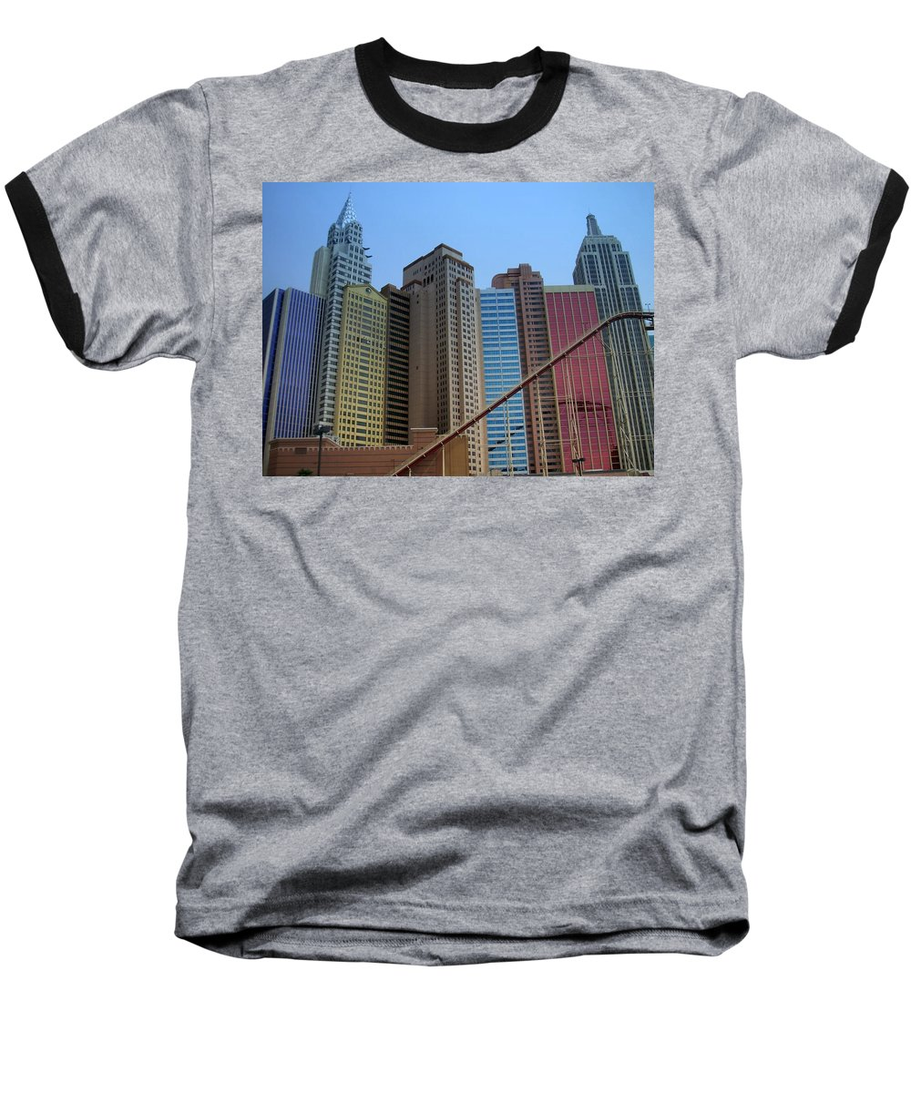 Vegas Baseball T-Shirt featuring the photograph New York Hotel by Anita Burgermeister