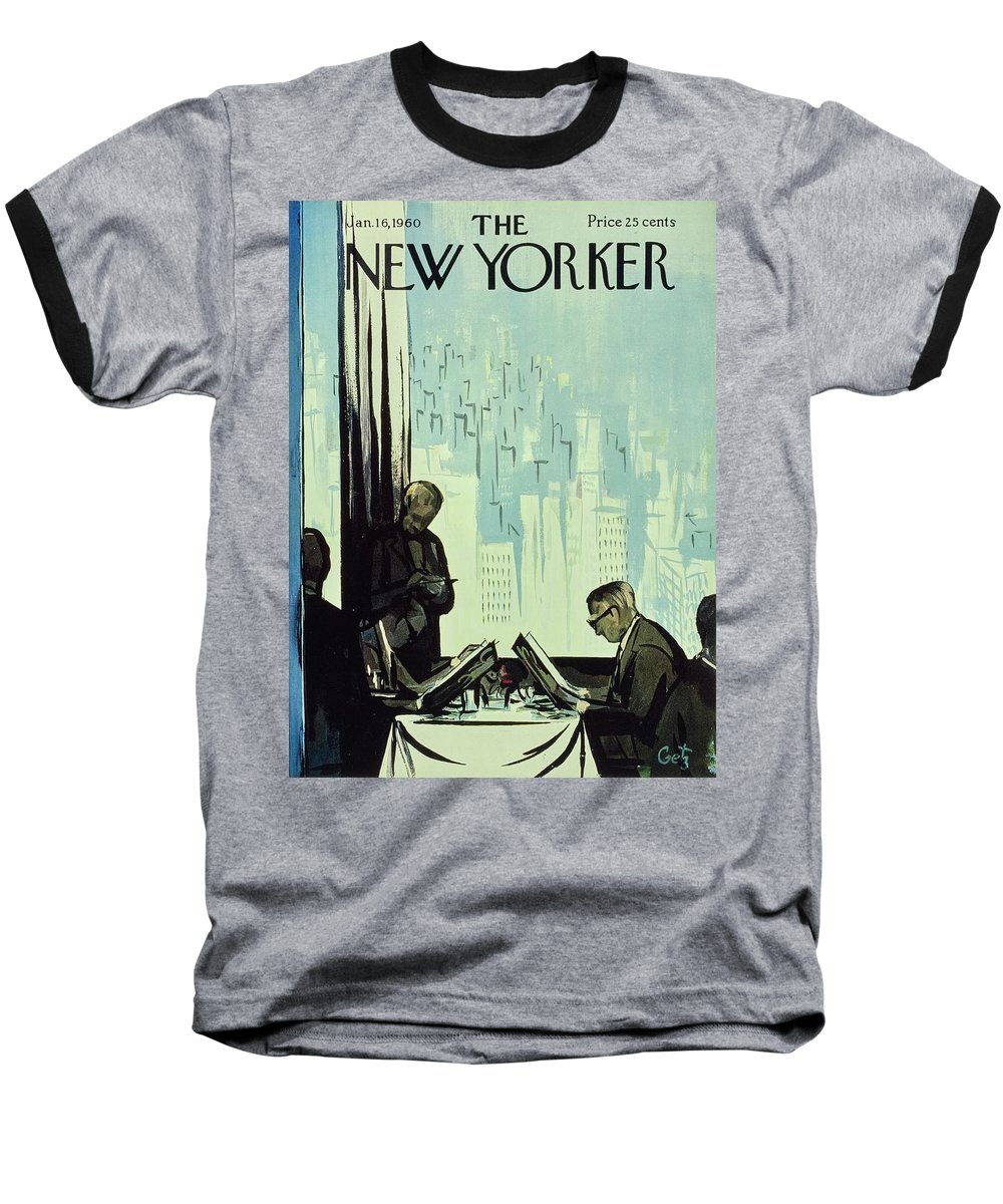 Illustration Baseball T-Shirt featuring the painting New Yorker January 16 1960 by Arthur Getz