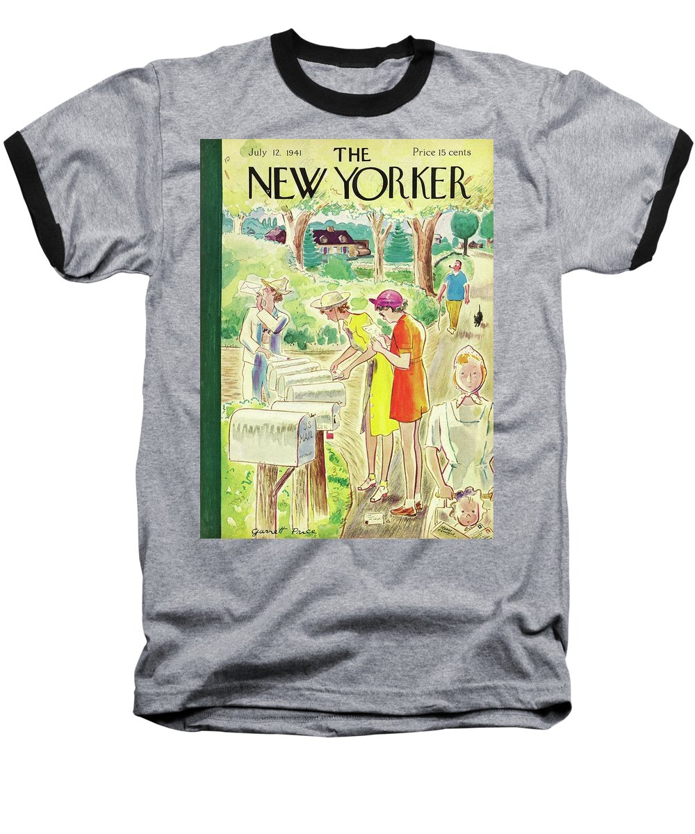 Country Baseball T-Shirt featuring the painting New Yorker July 12 1941 by Garrett Price