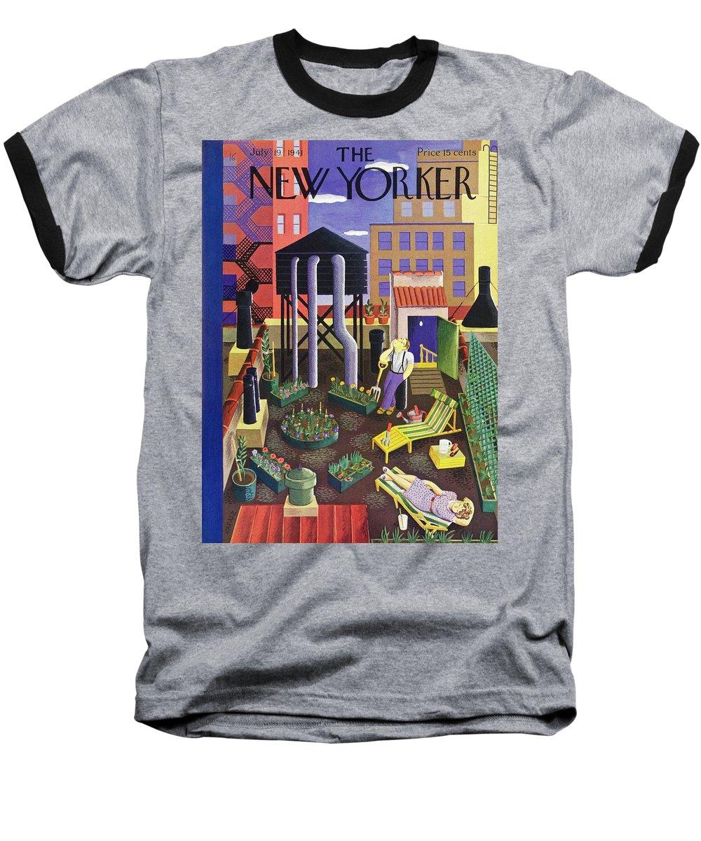 Couple Baseball T-Shirt featuring the painting New Yorker July 19 1941 by Ilonka Karasz