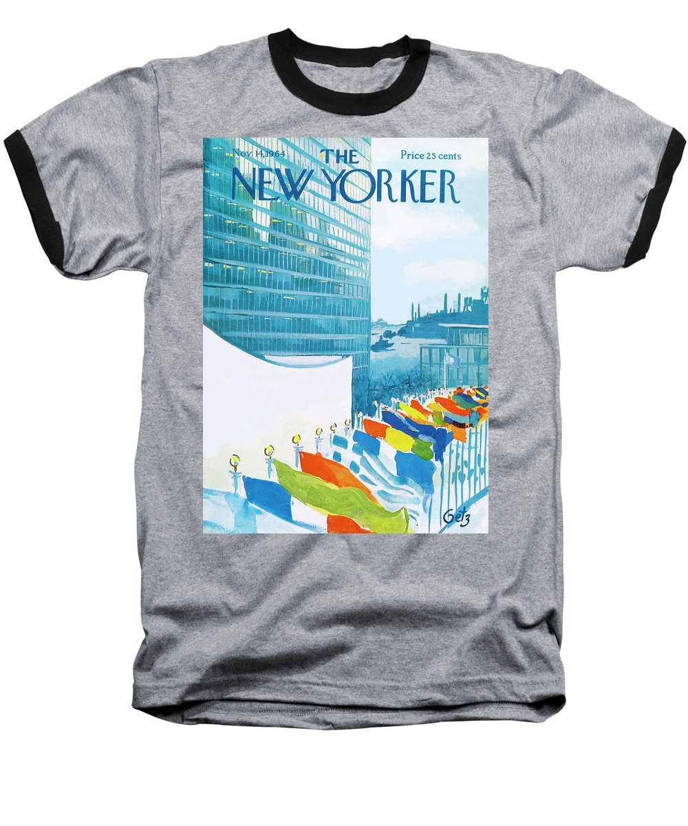 Urban Baseball T-Shirt featuring the painting New Yorker November 14th, 1964 by Arthur Getz