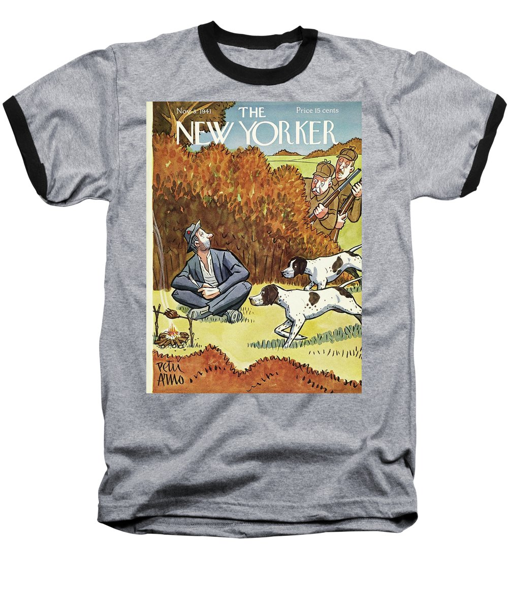 Hunters Baseball T-Shirt featuring the painting New Yorker November 8 1941 by Peter Arno