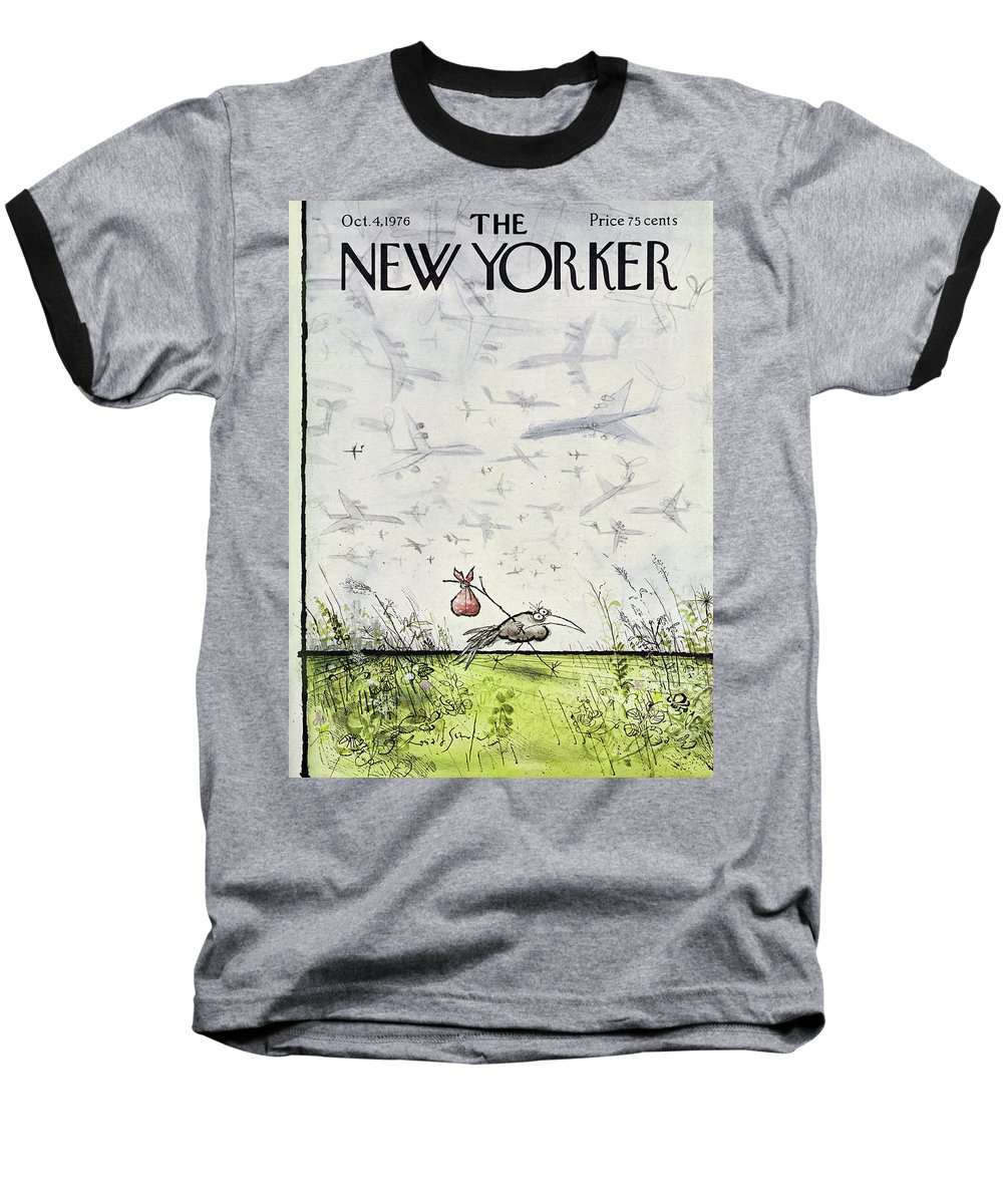 Travel Baseball T-Shirt featuring the drawing New Yorker October 4 1976 by Ronald Searle