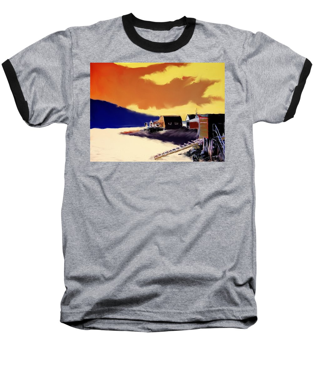 Newfoundland Baseball T-Shirt featuring the photograph Newfoundland Fishing Shacks by Ian MacDonald