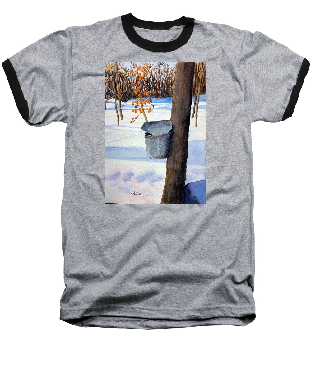 Sap Bucket. Maple Sugaring Baseball T-Shirt featuring the painting Nh Goldmine by Sharon E Allen