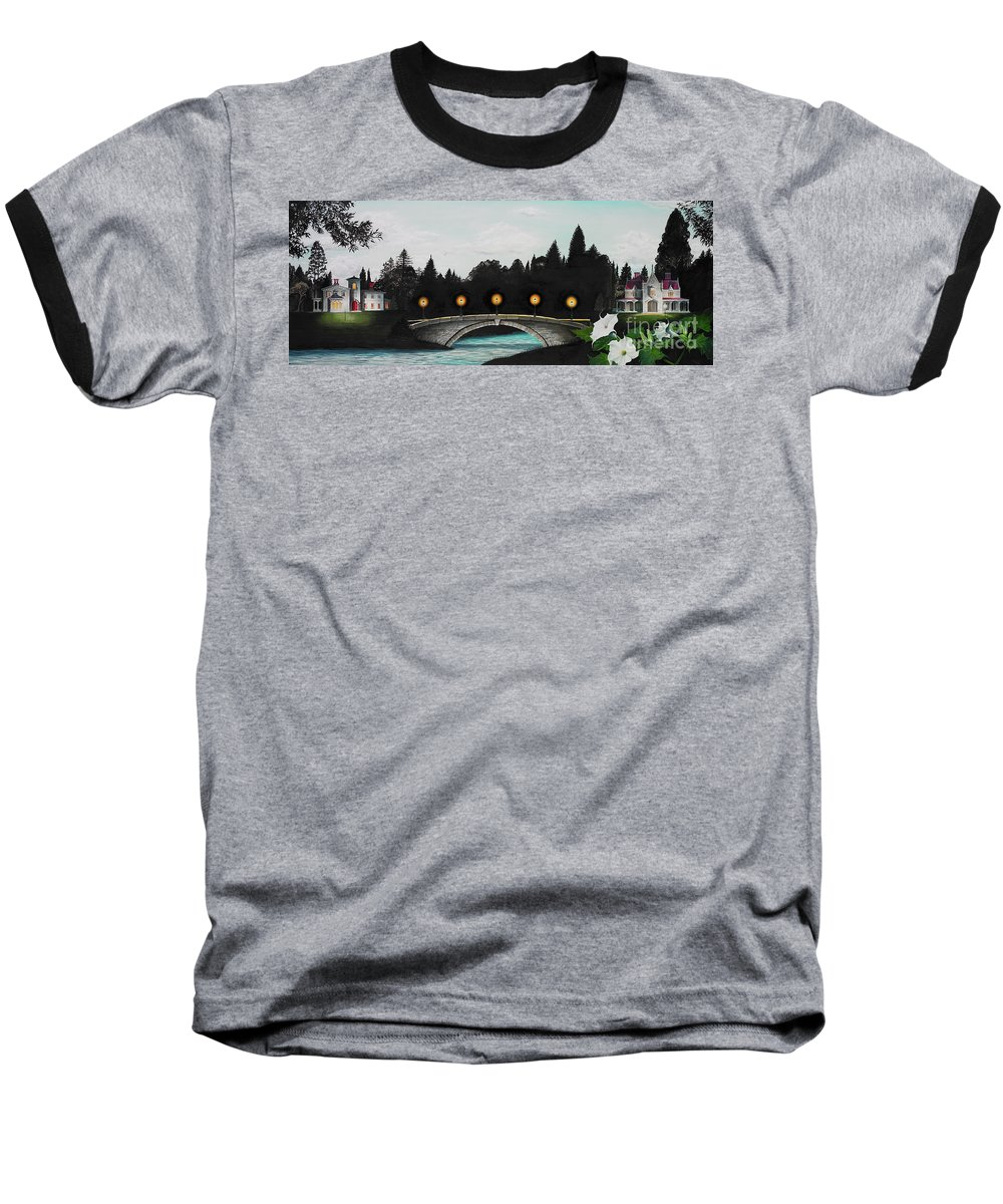 Architecture Baseball T-Shirt featuring the painting Night Bridge by Melissa A Benson