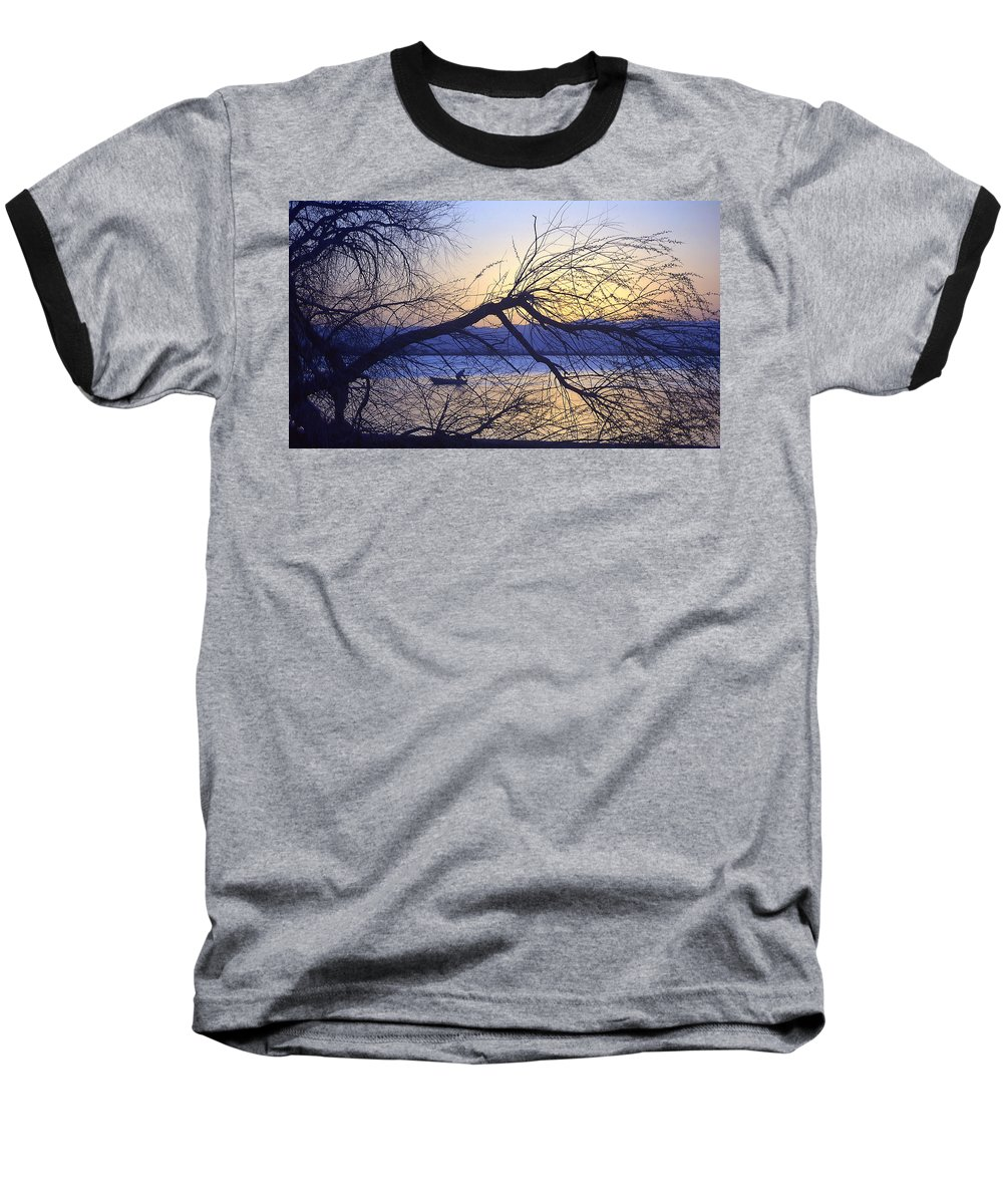Barr Lake Baseball T-Shirt featuring the photograph Night Fishing In Barr Lake Colorado by Merja Waters
