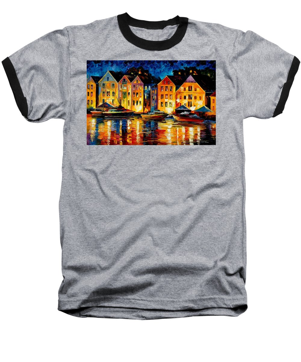 City Baseball T-Shirt featuring the painting Night Resting Original Oil Painting by Leonid Afremov