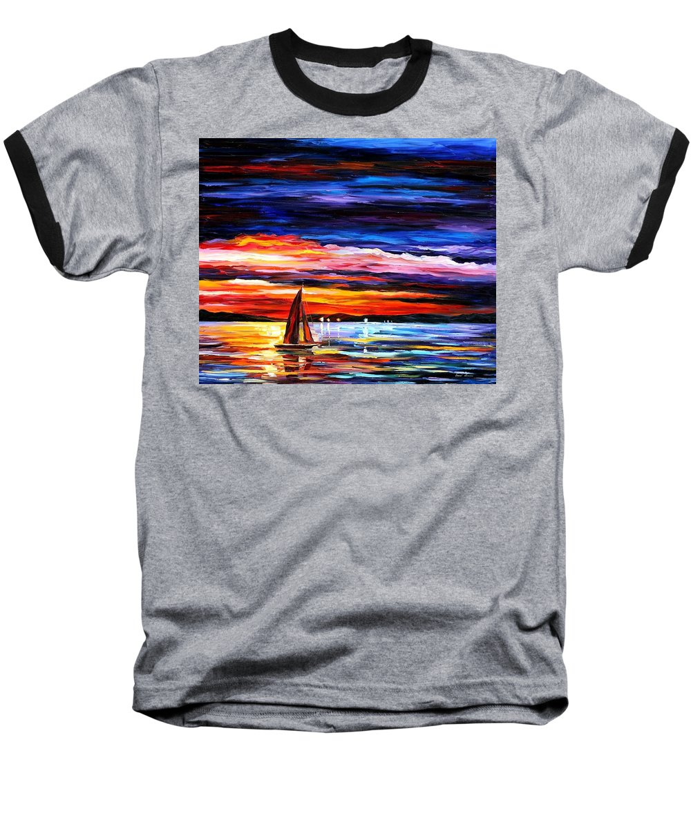 Seascape Baseball T-Shirt featuring the painting Night Sea by Leonid Afremov