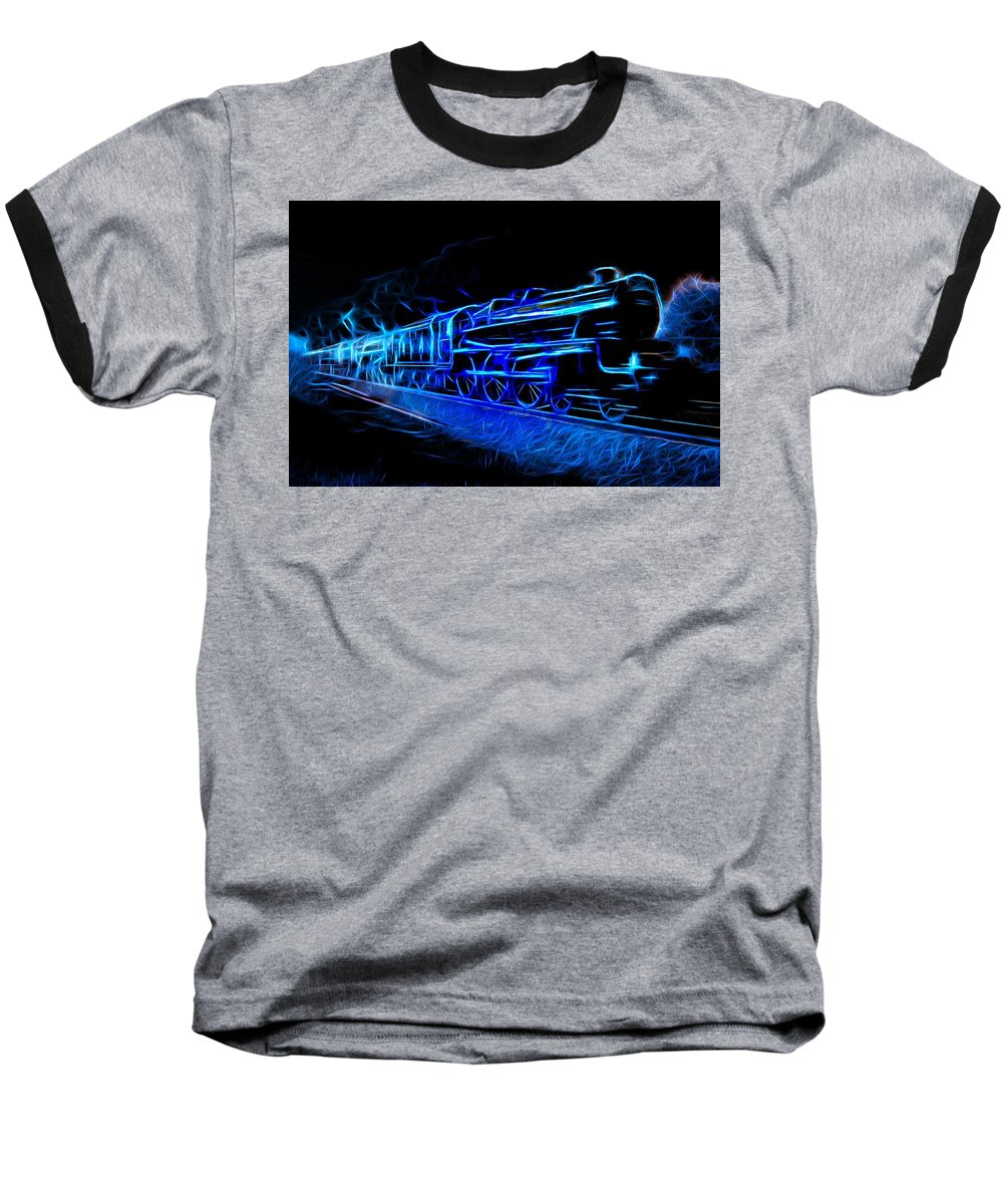 Steam Train Baseball T-Shirt featuring the photograph Night Train To Romance by Aaron Berg