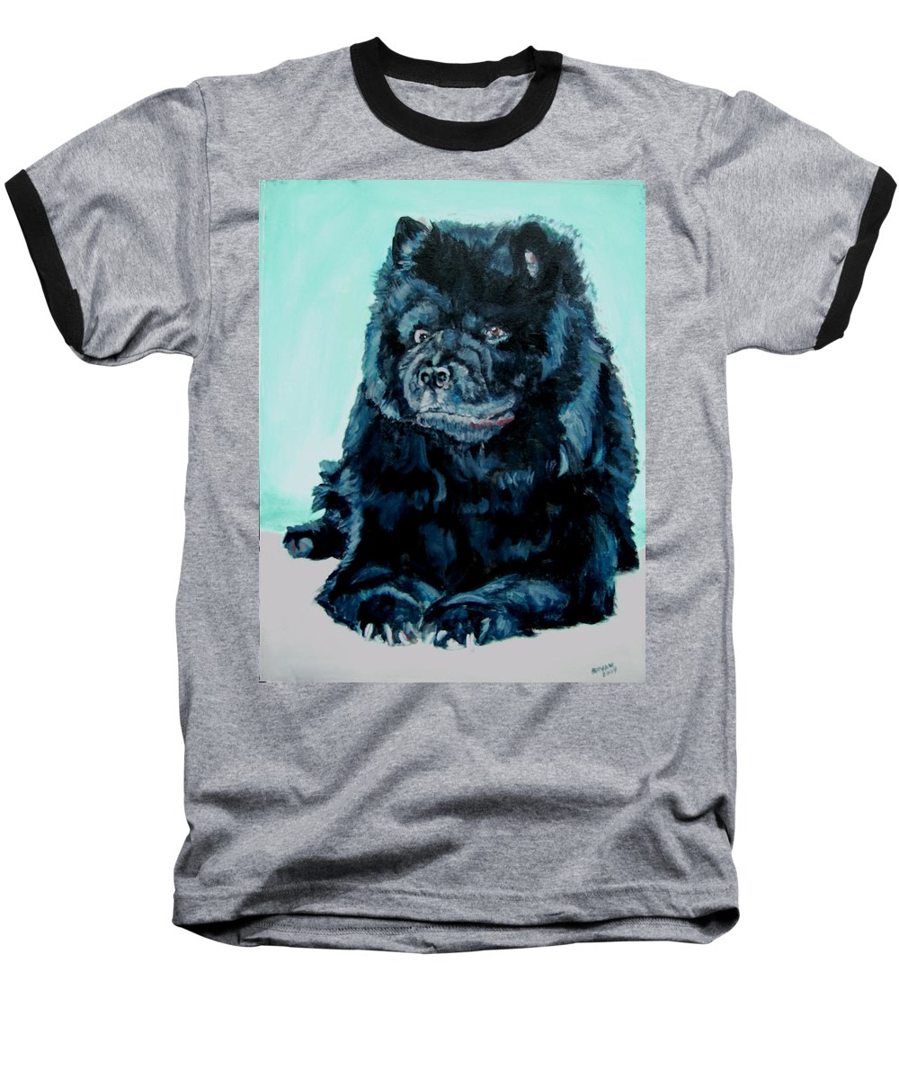 Dog Baseball T-Shirt featuring the painting Nikki The Chow by Bryan Bustard