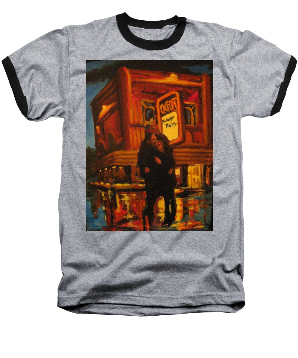 Wet Streets Baseball T-Shirt featuring the painting No Longer Playing by John Malone