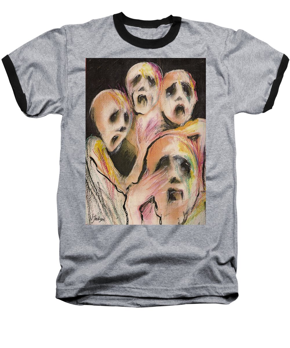 War Cry Tears Horror Fear Darkness Baseball T-Shirt featuring the mixed media No Words by Veronica Jackson