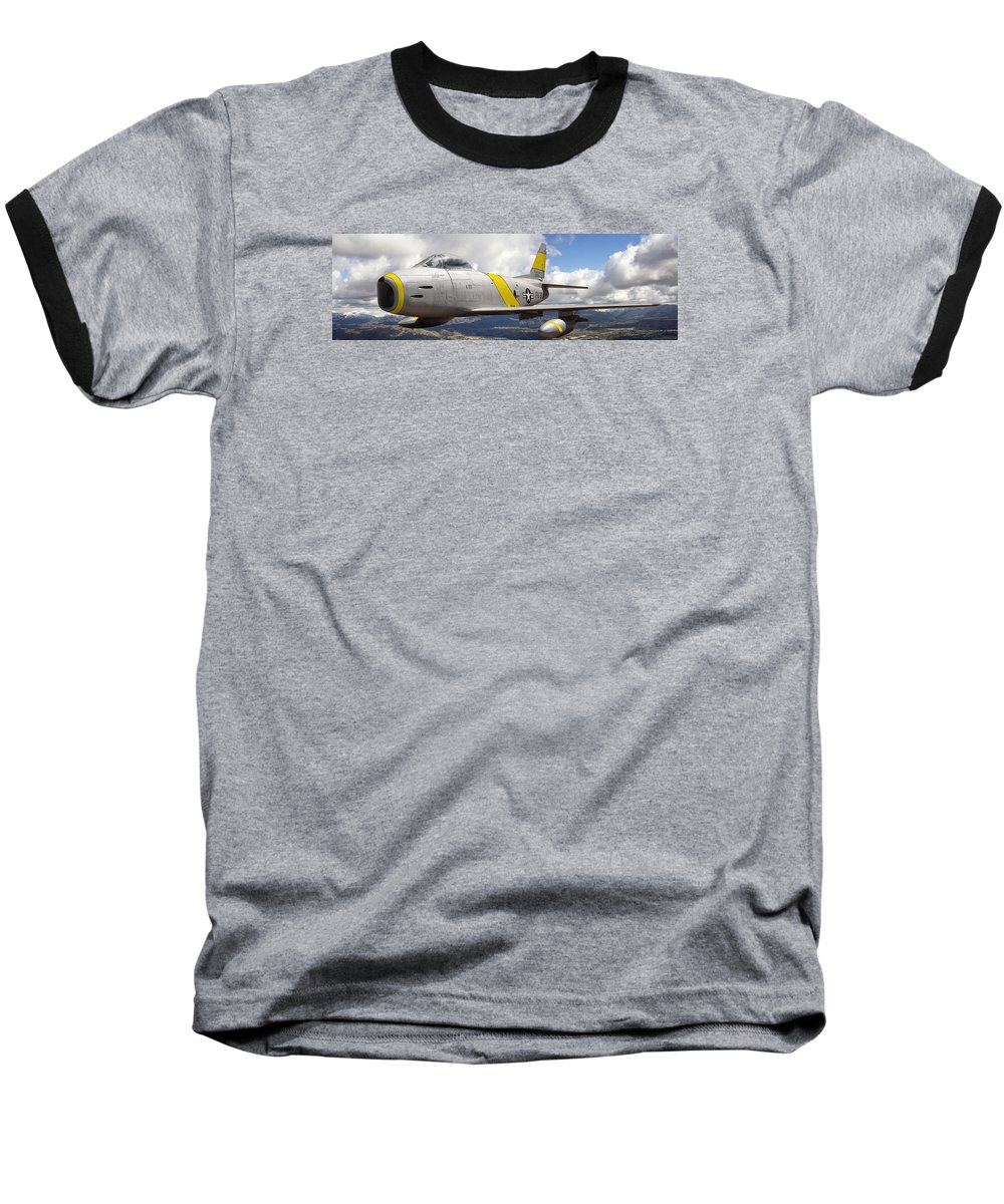 F-86 Sabre Baseball T-Shirt featuring the photograph North American F-86 Sabre by Larry McManus