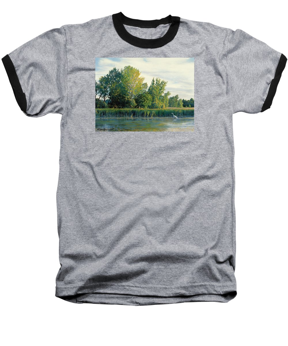 Great Egret Baseball T-Shirt featuring the drawing North Of The Grade-great Egret by Bruce Morrison