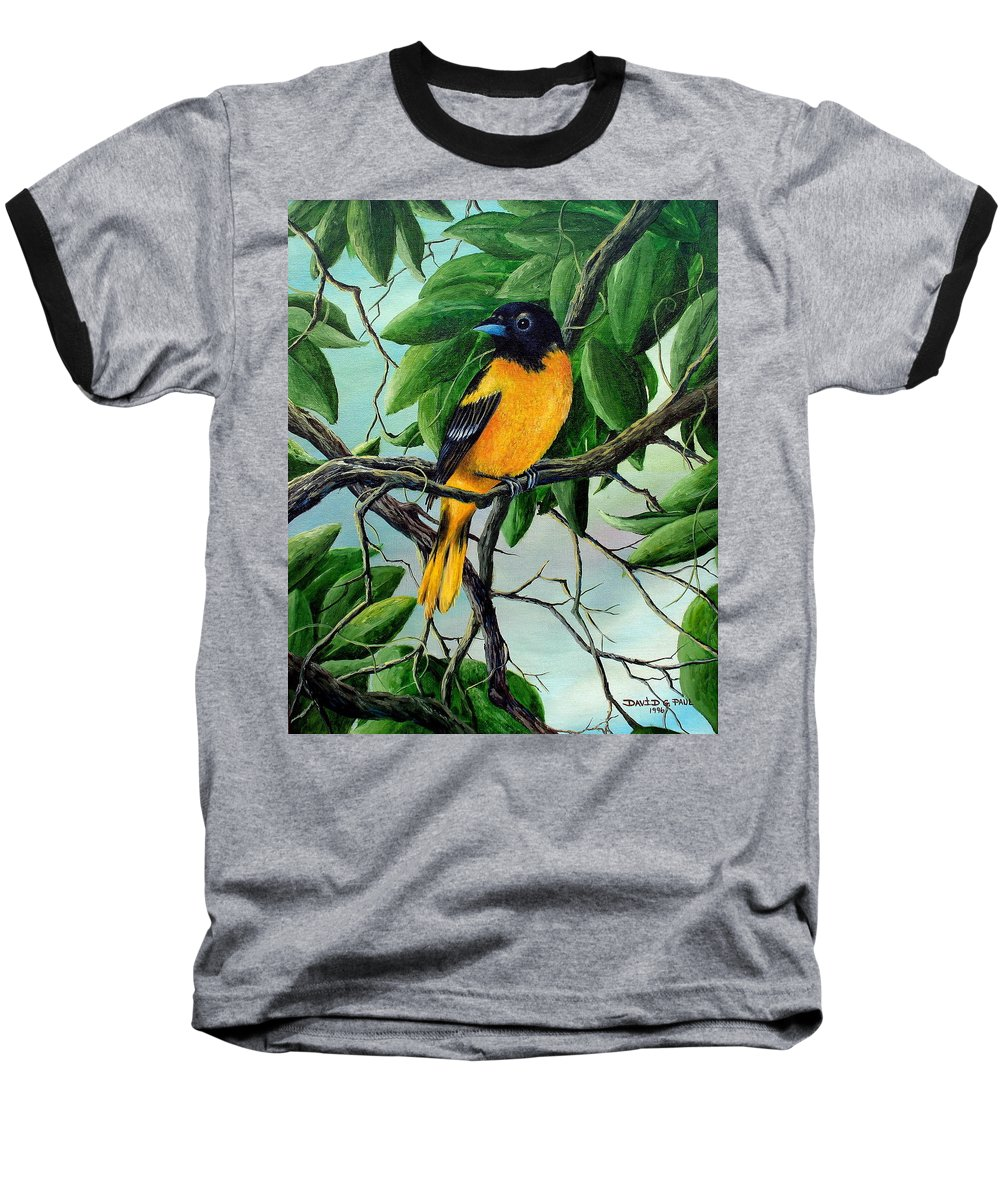 Oriole Baseball T-Shirt featuring the painting Northern Oriole by David G Paul