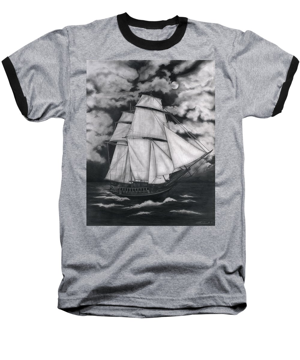 Ship Sailing Into The Northern Winds Baseball T-Shirt featuring the drawing Northern Winds by Larry Lehman