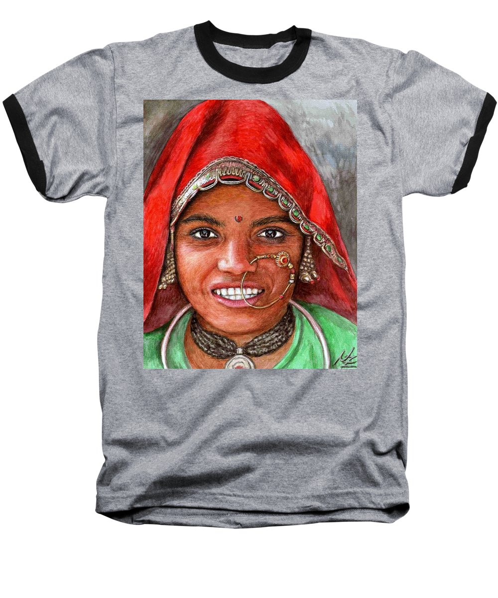 Woma Baseball T-Shirt featuring the painting Northindian Woman by Nicole Zeug