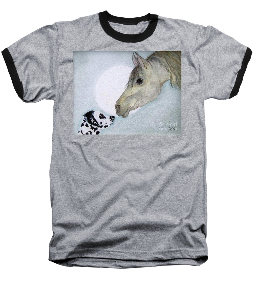 Dog Baseball T-Shirt featuring the painting Nose 2 Nose by Jacki McGovern