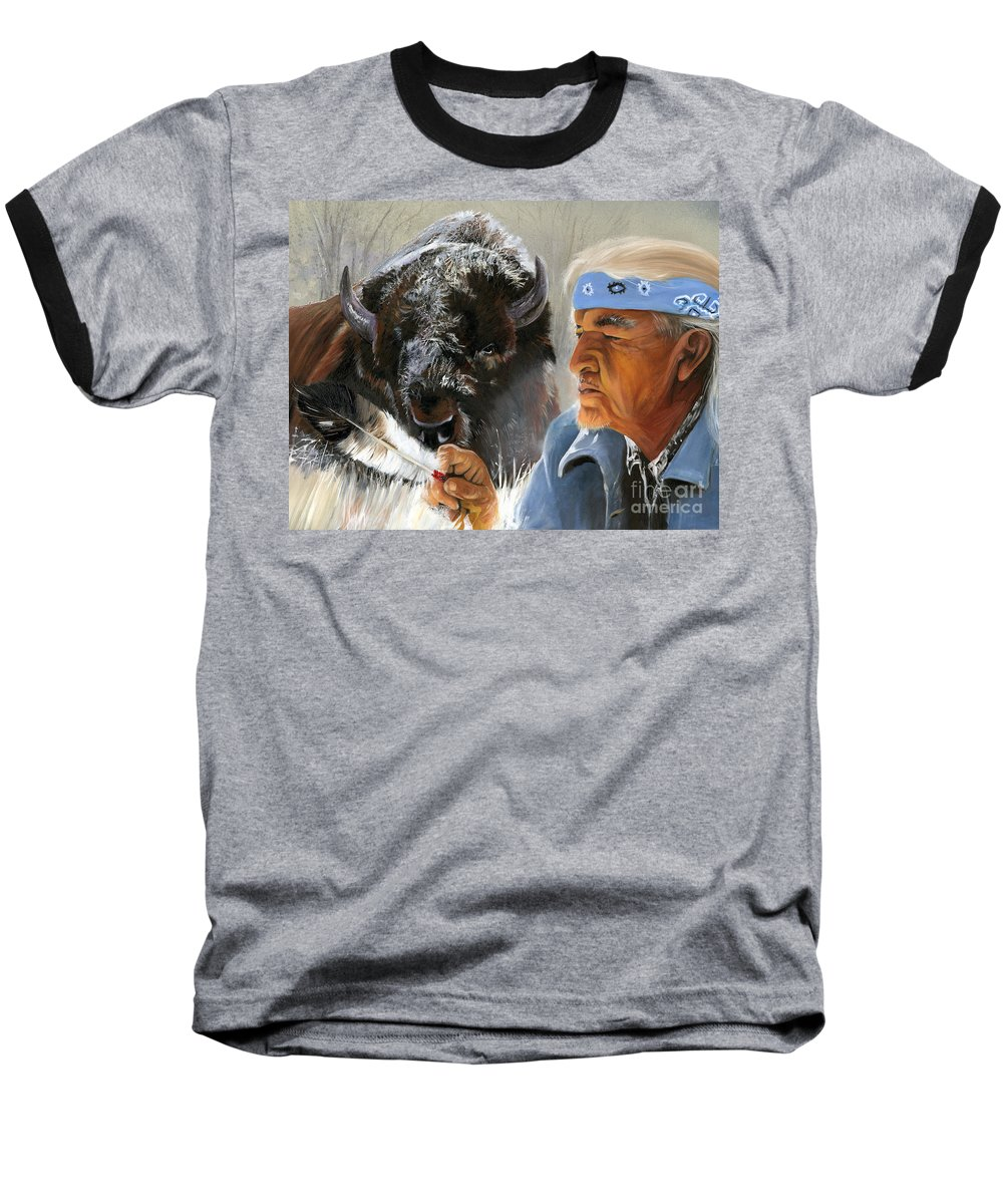 Southwest Art Baseball T-Shirt featuring the painting Nothing Is Ever Forgotten by J W Baker