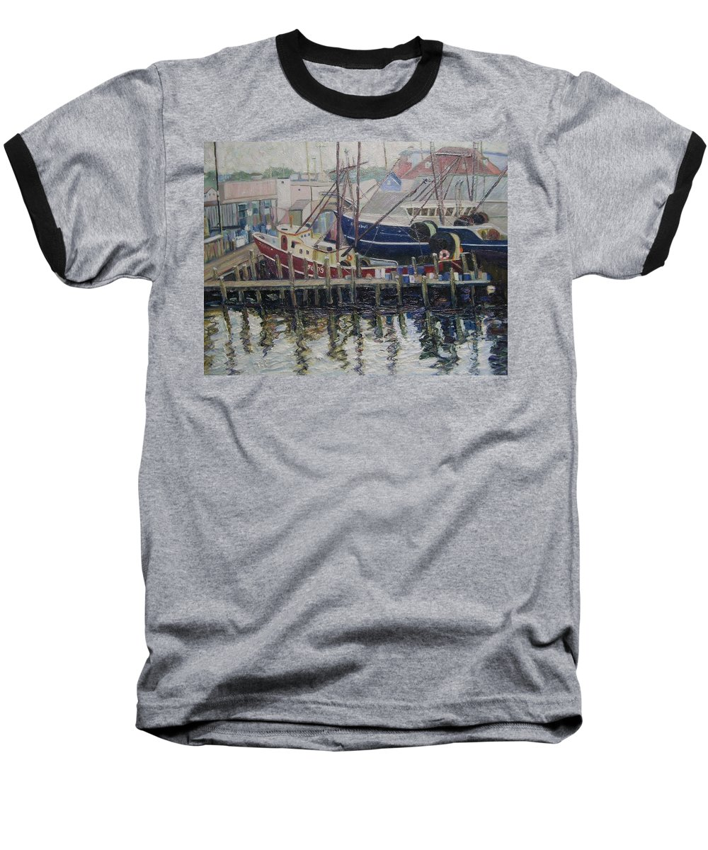 Boats Baseball T-Shirt featuring the painting Nova Scotia Boats At Rest by Richard Nowak