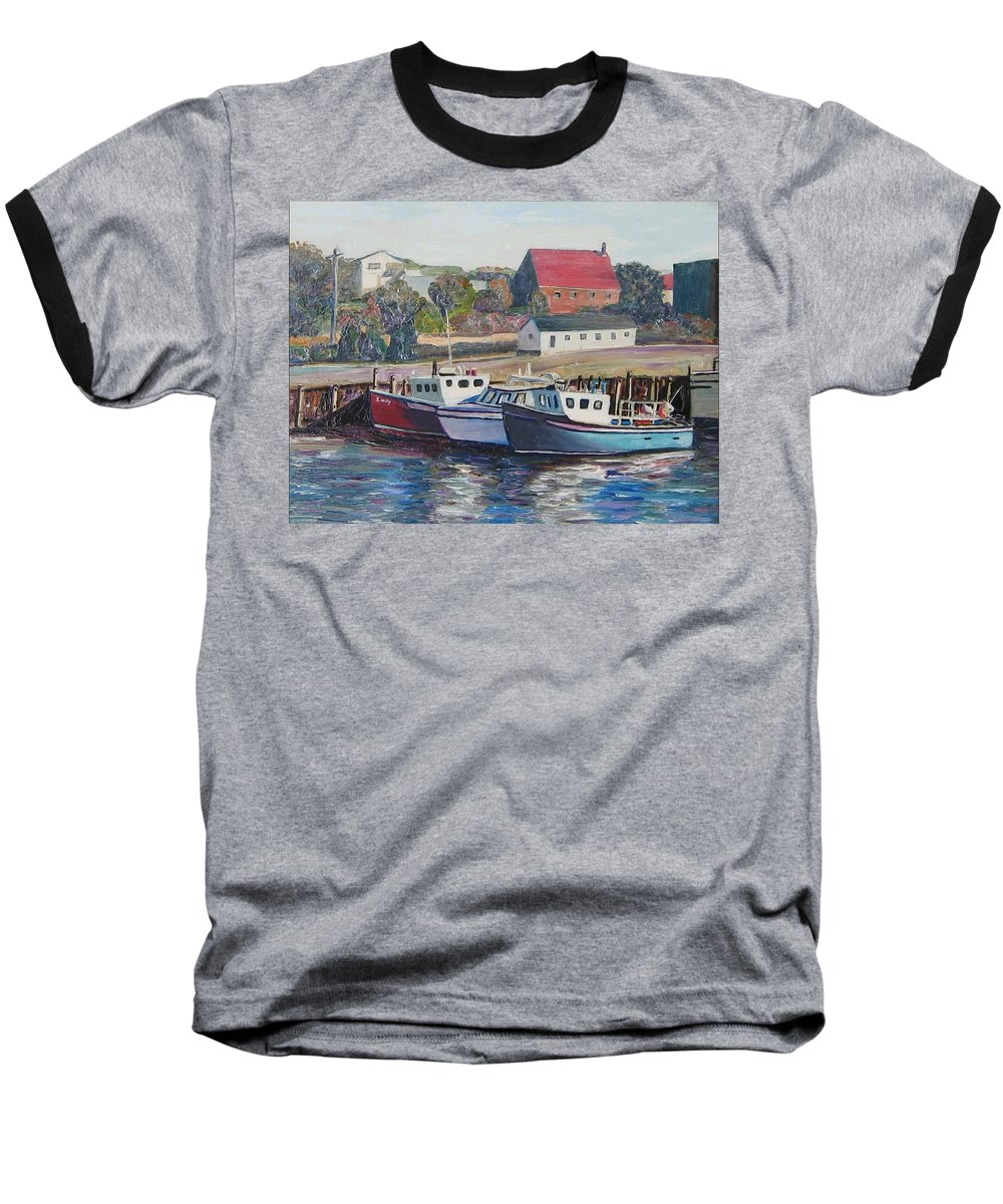 Nova Scotia Baseball T-Shirt featuring the painting Nova Scotia Boats by Richard Nowak