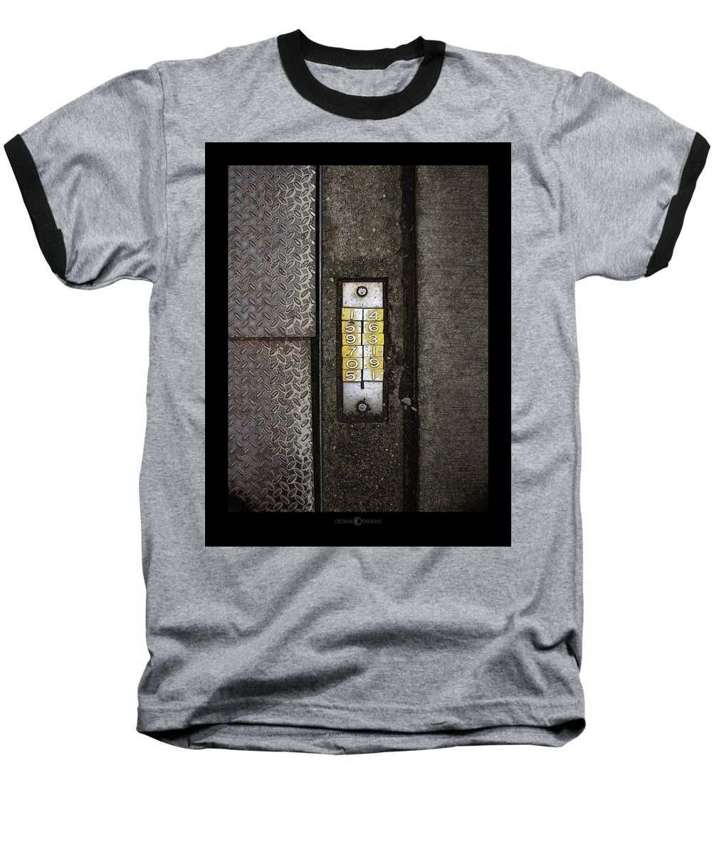 Numbers Baseball T-Shirt featuring the photograph Numbers On The Sidewalk by Tim Nyberg