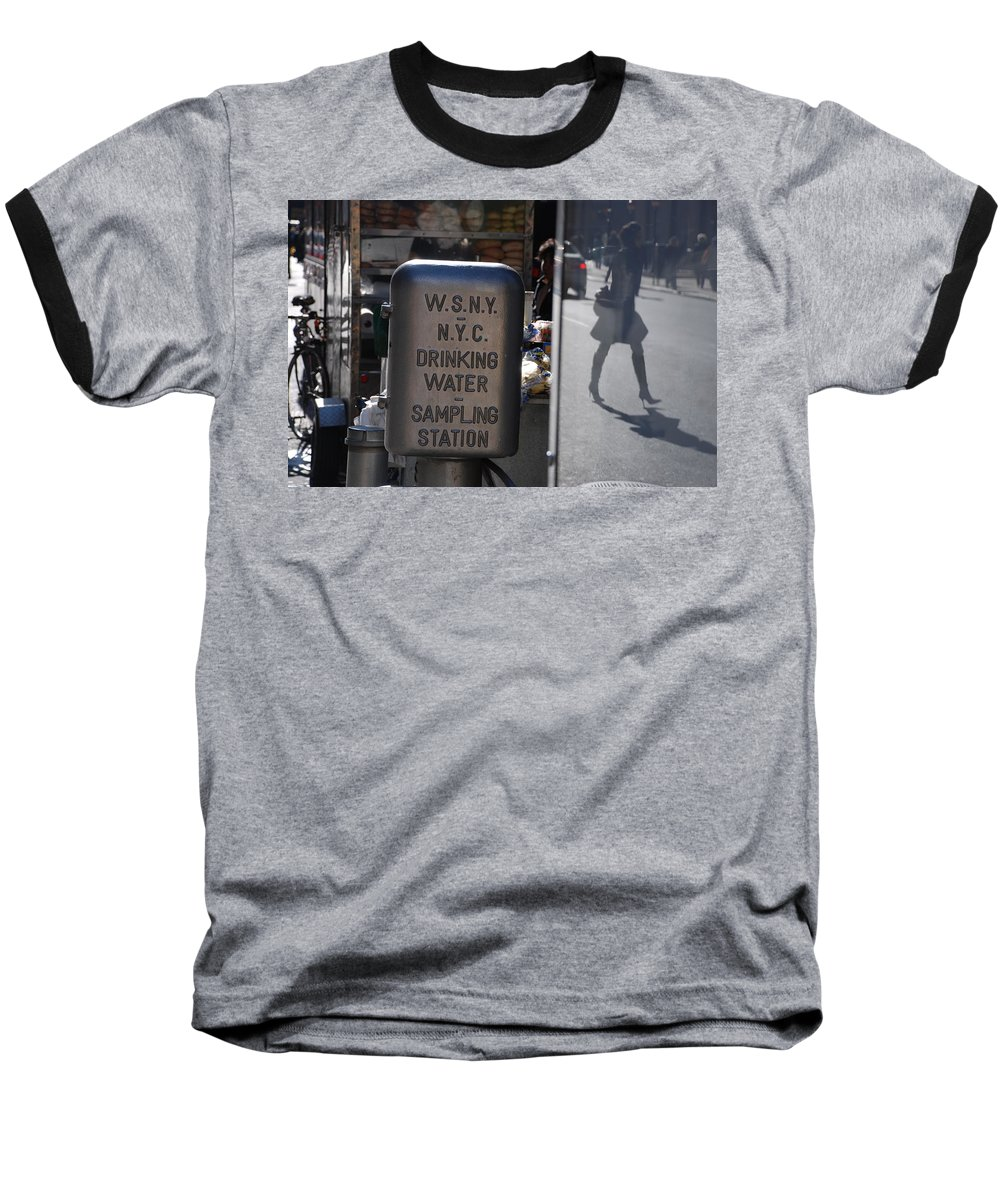 Street Scene Baseball T-Shirt featuring the photograph Nyc Drinking Water by Rob Hans