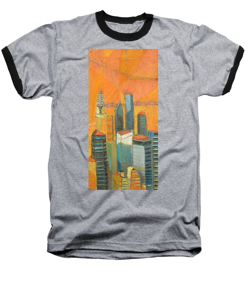 Baseball T-Shirt featuring the painting Nyc In Orange by Habib Ayat