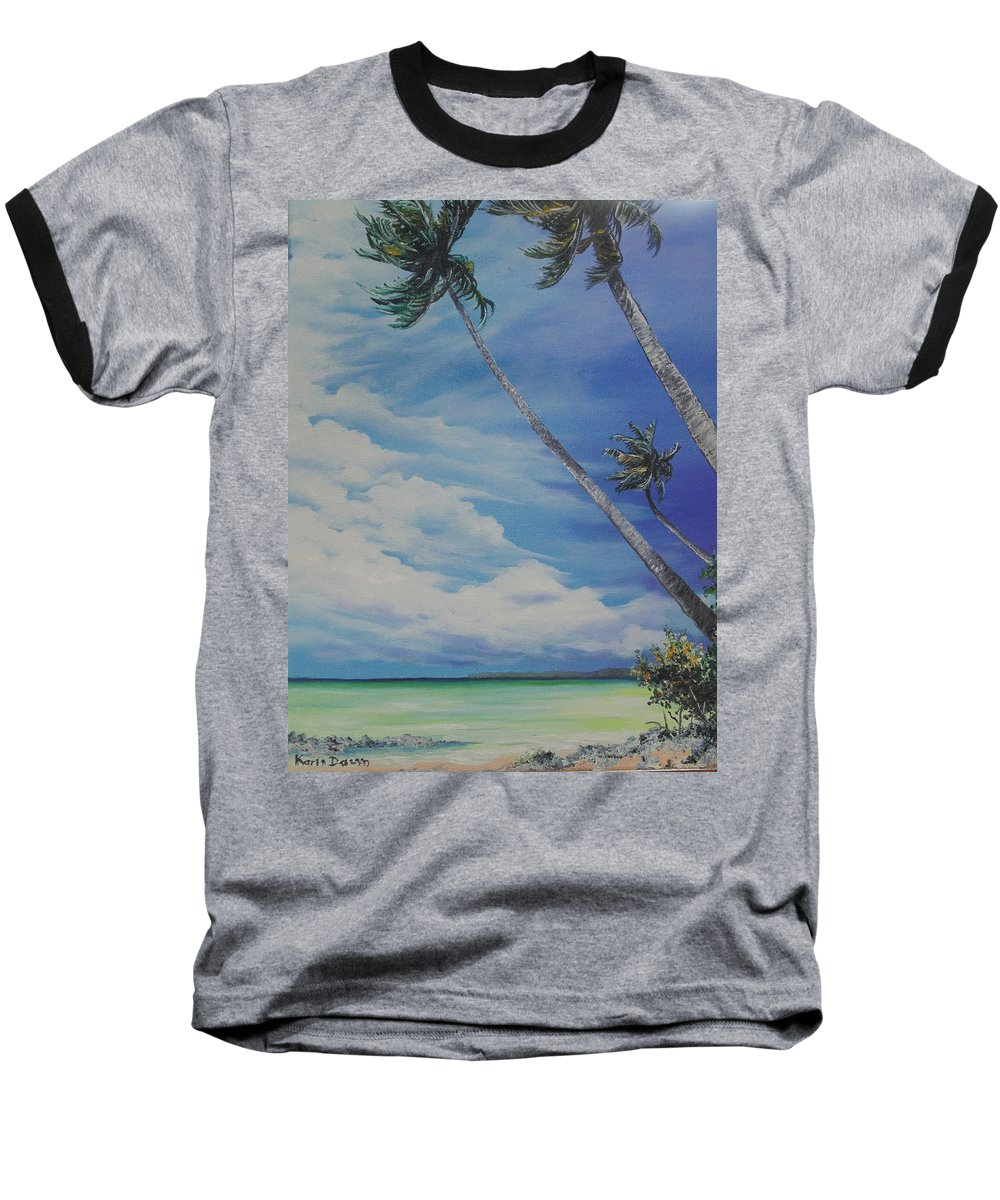 Trinidad And Tobago Seascape Baseball T-Shirt featuring the painting Nylon Pool Tobago. by Karin Dawn Kelshall- Best